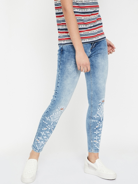 Ginger by Lifestyle Women Blue & White Straight Fit Mid-Rise Clean Look Jeans