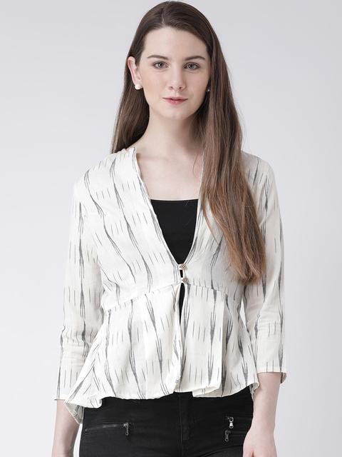 pinwheel Women White Striped Tailored Jacket