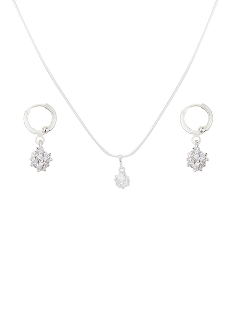 Swiss Design Silver-Toned Earrings & Pendant Set with Chain