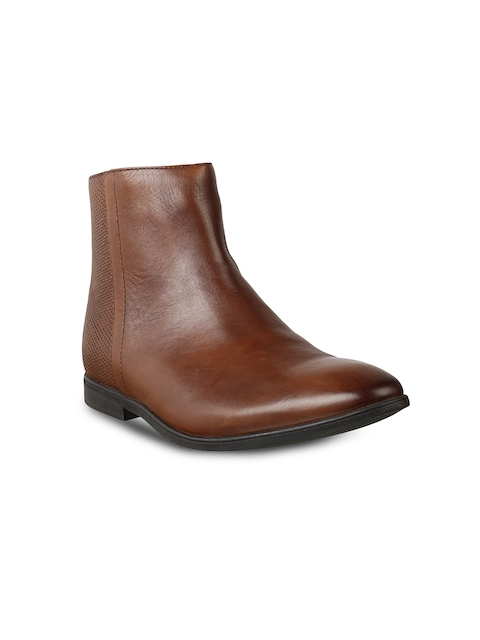 Clarks Men Tan Brown Solid Leather Mid-Top Flat Boots