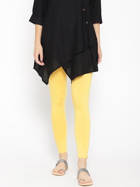 AURELIA Women Yellow Solid Ankle-Length Leggings