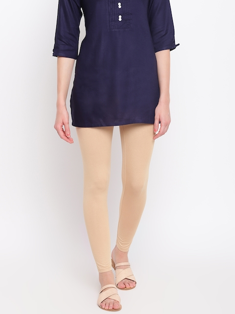 AURELIA Women Beige Solid Ankle Length Leggings