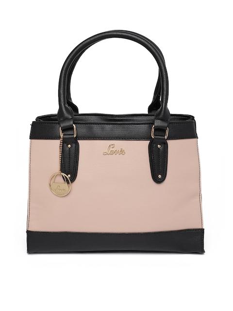 Lavie Beige & Black Colourblocked Handheld Bag