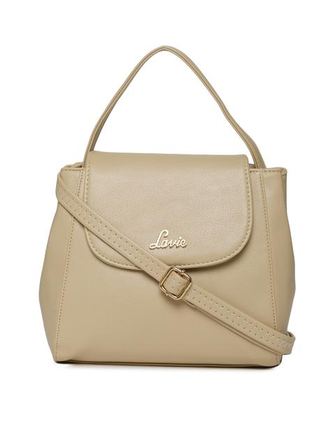 Lavie Beige Solid Handheld Bag