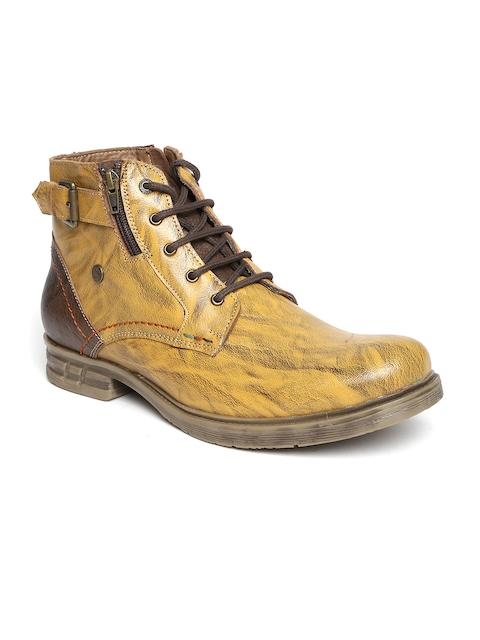 Buckaroo Men Mustard Yellow Printed Leather Boots