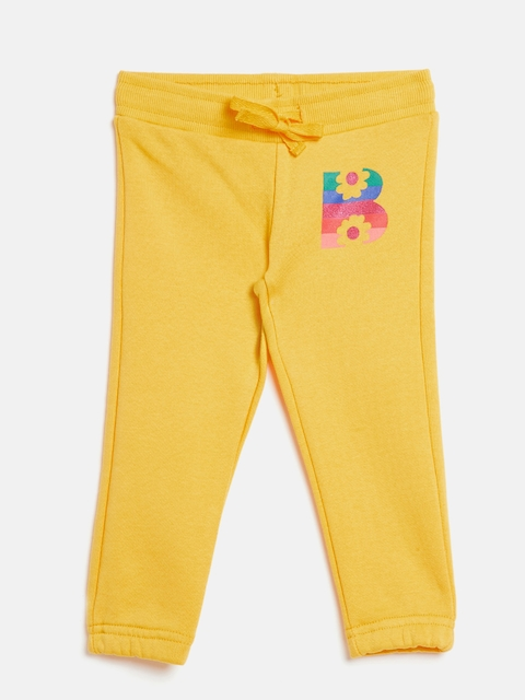 United Colors of Benetton Girls Yellow Solid Joggers