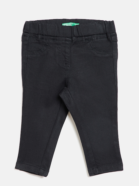 United Colors of Benetton Girls Black Skinny Fit Solid Jeggings