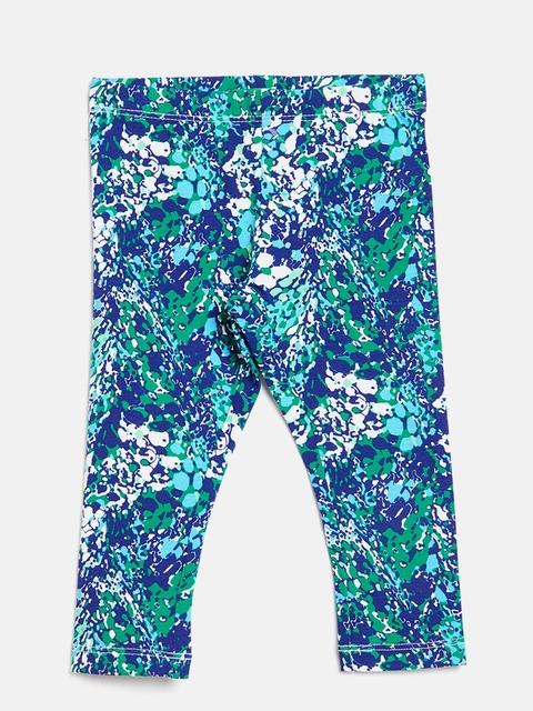 United Colors of Benetton Girls Blue & Green Printed Leggings