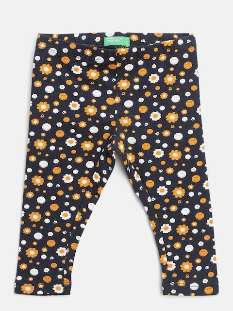 United Colors of Benetton Girls Navy Blue & Yellow Printed Leggings