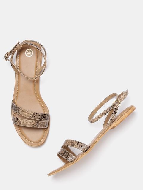 20Dresses Women Beige & Black Snakeskin Pattern Open Toe Flats