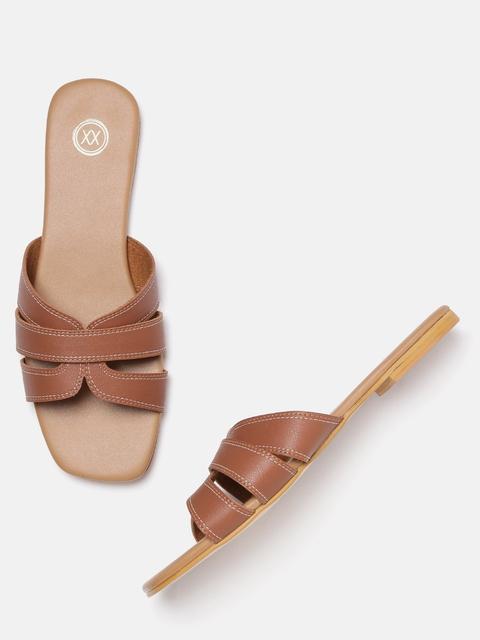 20Dresses Women Brown Solid Open Toe Flats
