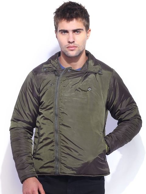Campus Sutra Olive Green Jacket