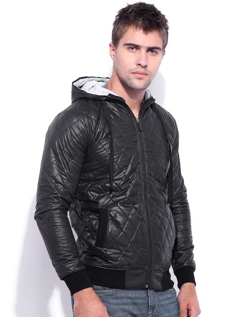Campus Sutra Black Hooded Jacket