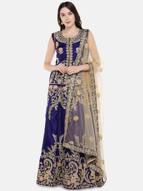 Aasvaa Blue & Gold-Toned Embroidered Semi-Stitched Lehenga & Unstitched Blouse with Dupatta