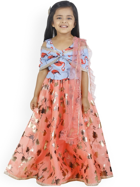 LilPicks Girls Blue & Peach-Coloured Printed Ready to Wear Lehenga & Blouse with Dupatta