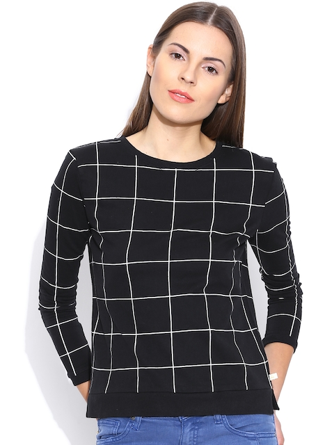 United Colors of Benetton Black Checked Top