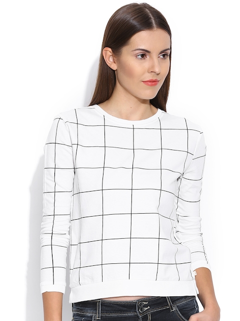 United Colors of Benetton White Checked Top