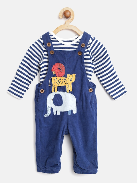 Marks & Spencer Kids Navy & White Dungarees with Bodysuit