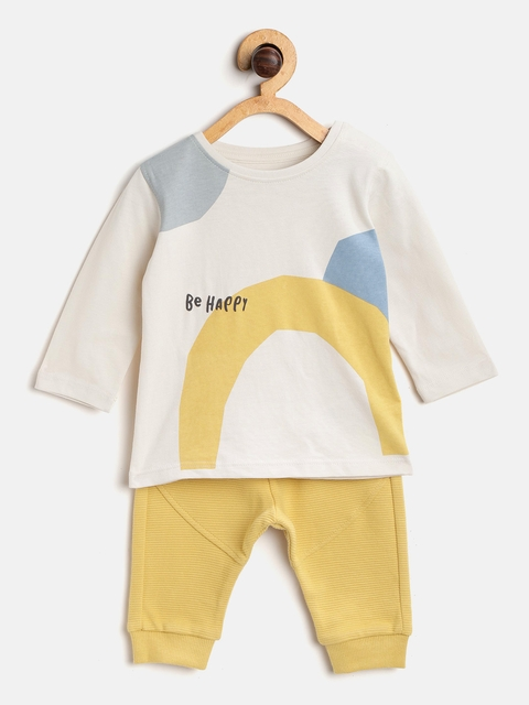 Marks & Spencer Kids Off-White & Mustard Yellow Printed T-shirt with Pyjamas