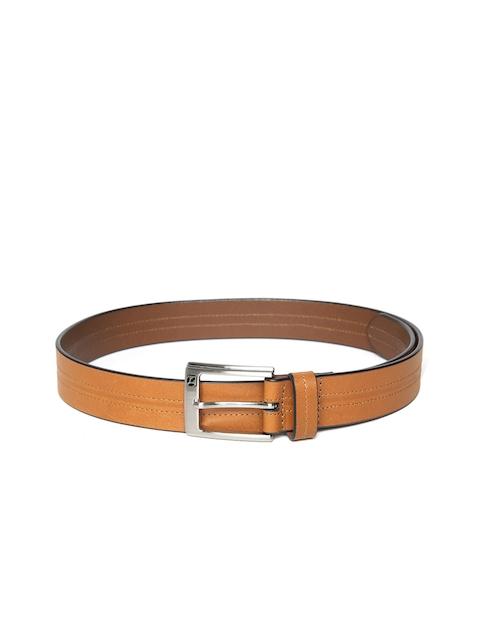 Woodland Men Tan Brown Solid Leather Belt