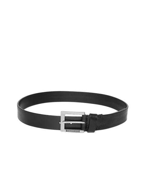 Woodland Men Black Leather Solid Belt