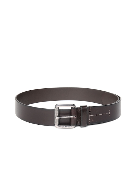 Woodland Men Coffee Brown Leather Solid Belt