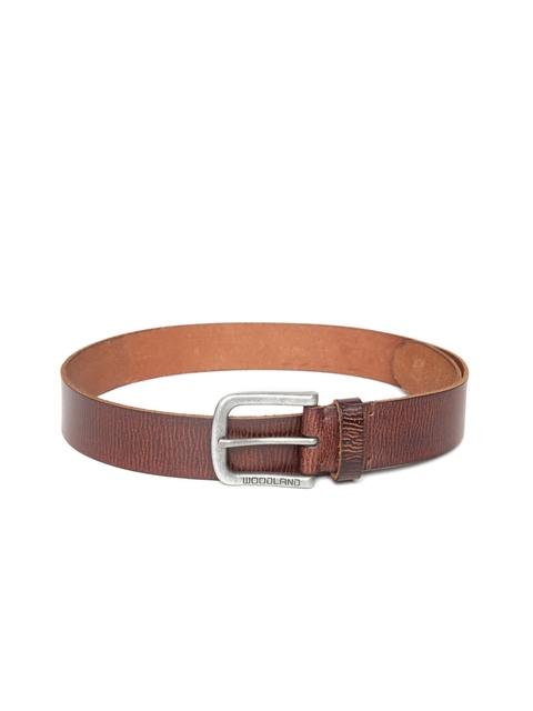 Woodland Men Brown Textured Leather Belt