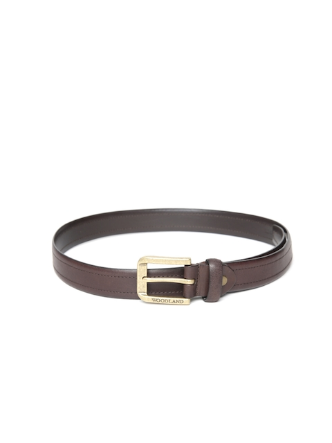 Woodland Men Coffee Brown Solid Leather Belt