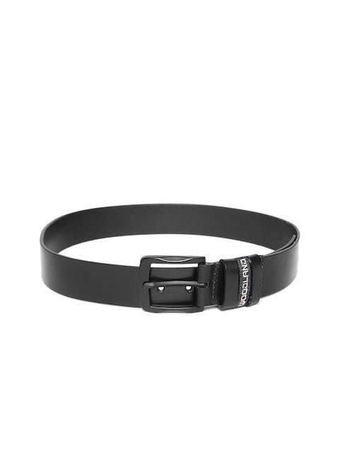 Woodland Men Black Solid Leather Belt