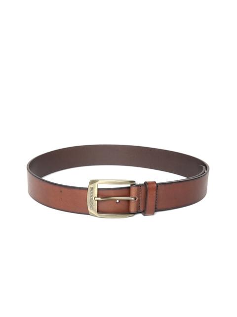 Woodland Men Brown Solid Leather Belt