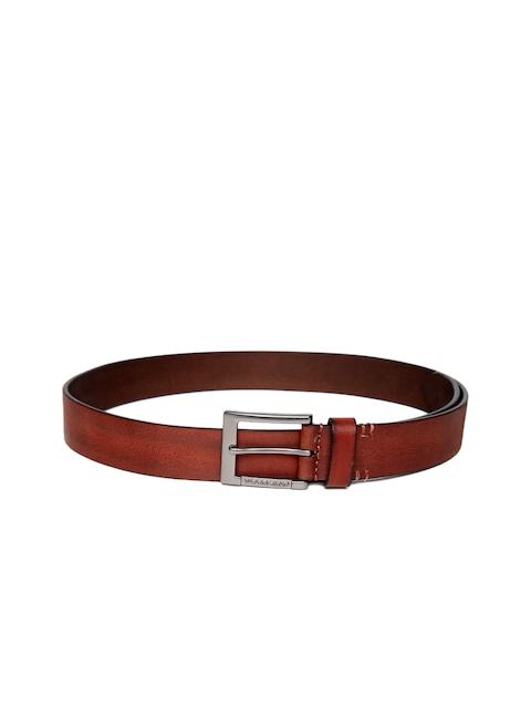 Woodland Men Rust Brown Leather Solid Belt