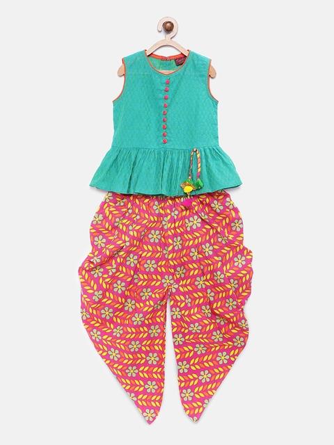 Twisha Girls Turquoise Blue & Pink Butta Self Design Top with Dhoti Pants
