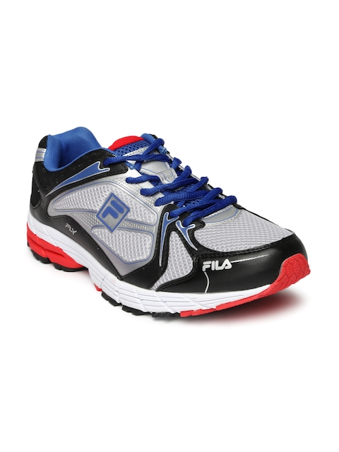 FILA Men Silver-Toned & Black FLY Running Shoes