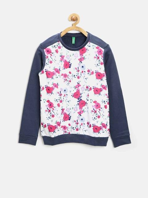 United Colors of Benetton Girls White Floral Print Sweatshirt