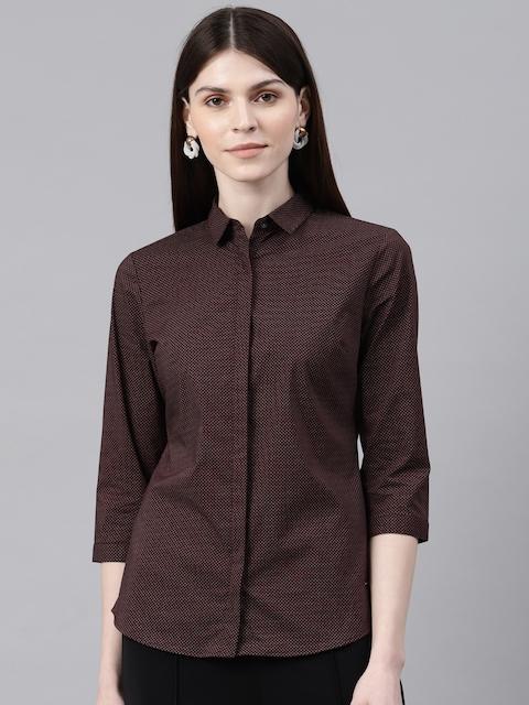 Van Heusen Women Brown Regular Fit Printed Formal Shirt