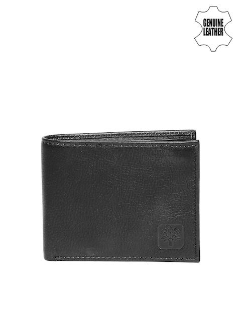 Woodland Men Black Textured Genuine Leather Wallet
