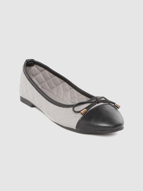 Van Heusen Woman Women Grey & Black Quilted Colourblocked Ballerinas