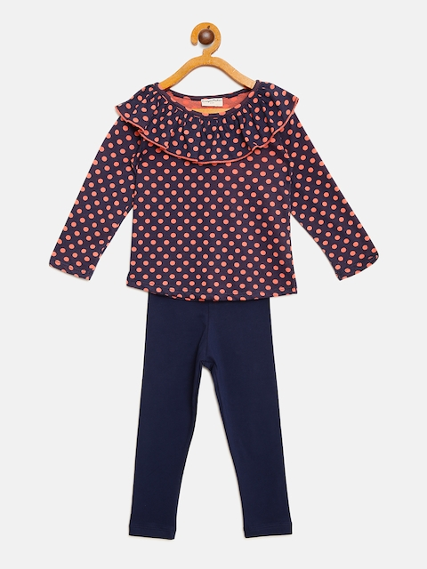 CrayonFlakes Girls Peach-Coloured & Navy Blue Printed Top with Leggings