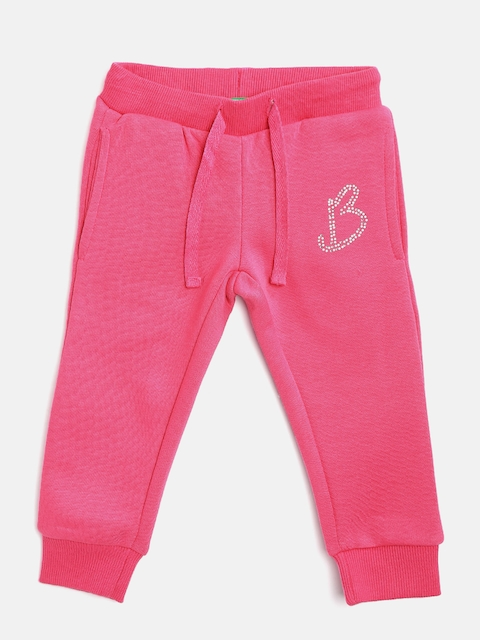 United Colors of Benetton Girls Pink Solid Joggers