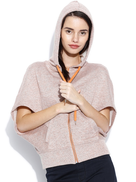 United Colors of Benetton Brown Patterned Hooded Sweatshirt