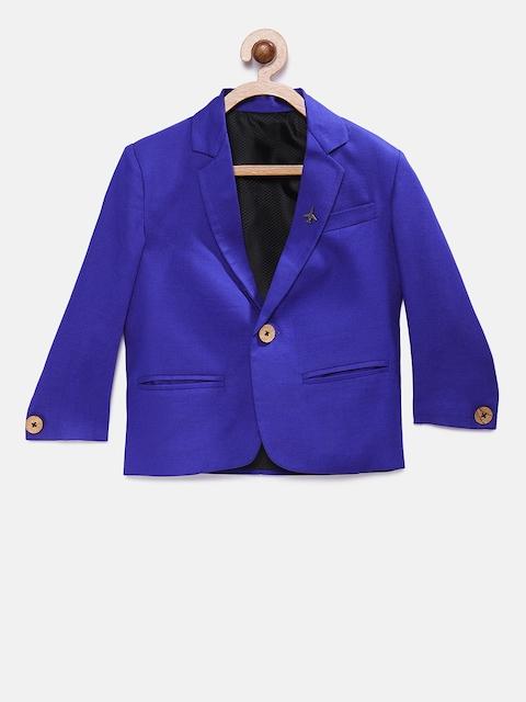 RIKIDOOS Boys Blue Solid Regular Fit Single Breasted Casual Blazer