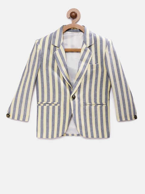 RIKIDOOS Boys Blue & Yellow Striped Regular Fit Single Breasted Casual Blazer