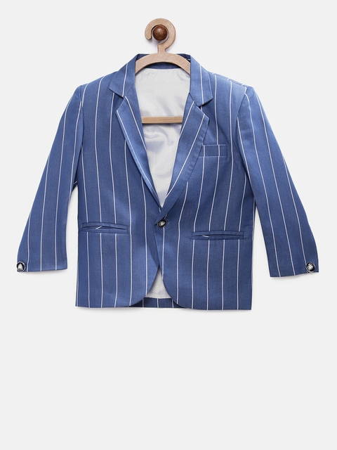 RIKIDOOS Boys Blue & White Striped Regular Fit Single Breasted Casual Blazer