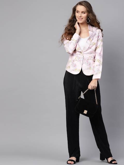 SASSAFRAS Women Pink & Off-White Slim Fit Printed Single-Breasted Casual Blazer