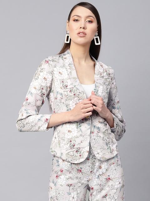 SASSAFRAS Women Grey & Off-White Slim Fit Printed Single-Breasted Casual Blazer