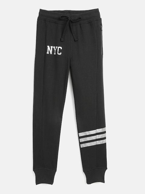 YK Boys Black Solid Joggers