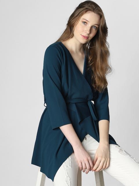Vero Moda Women Teal Blue Solid Open Front  Jacket