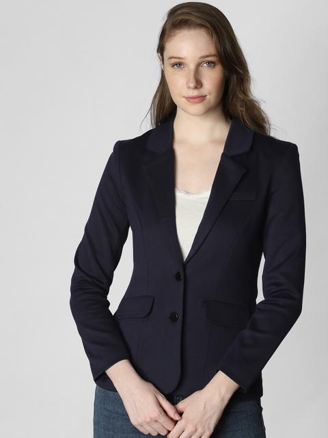 Vero Moda Women Navy Blue Solid Slim Fit Single Breasted Casual Blazer