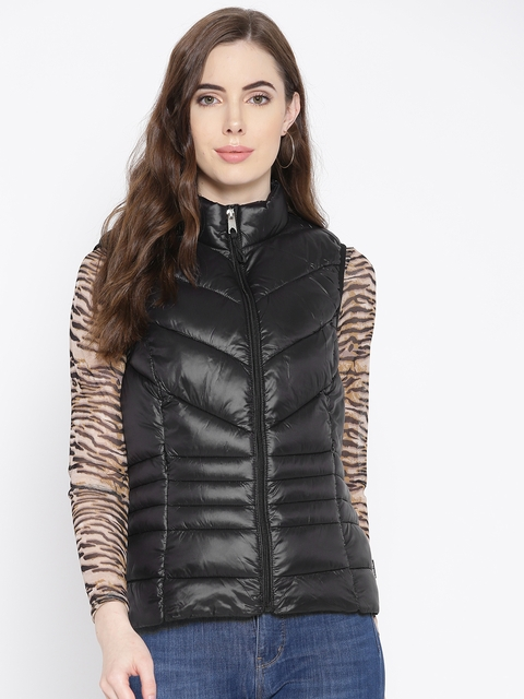 Vero Moda Women Black Solid Lightweight Padded  Jacket