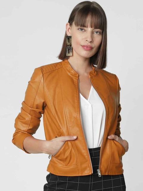 Vero Moda Women Camel Brown Solid Biker Jacket
